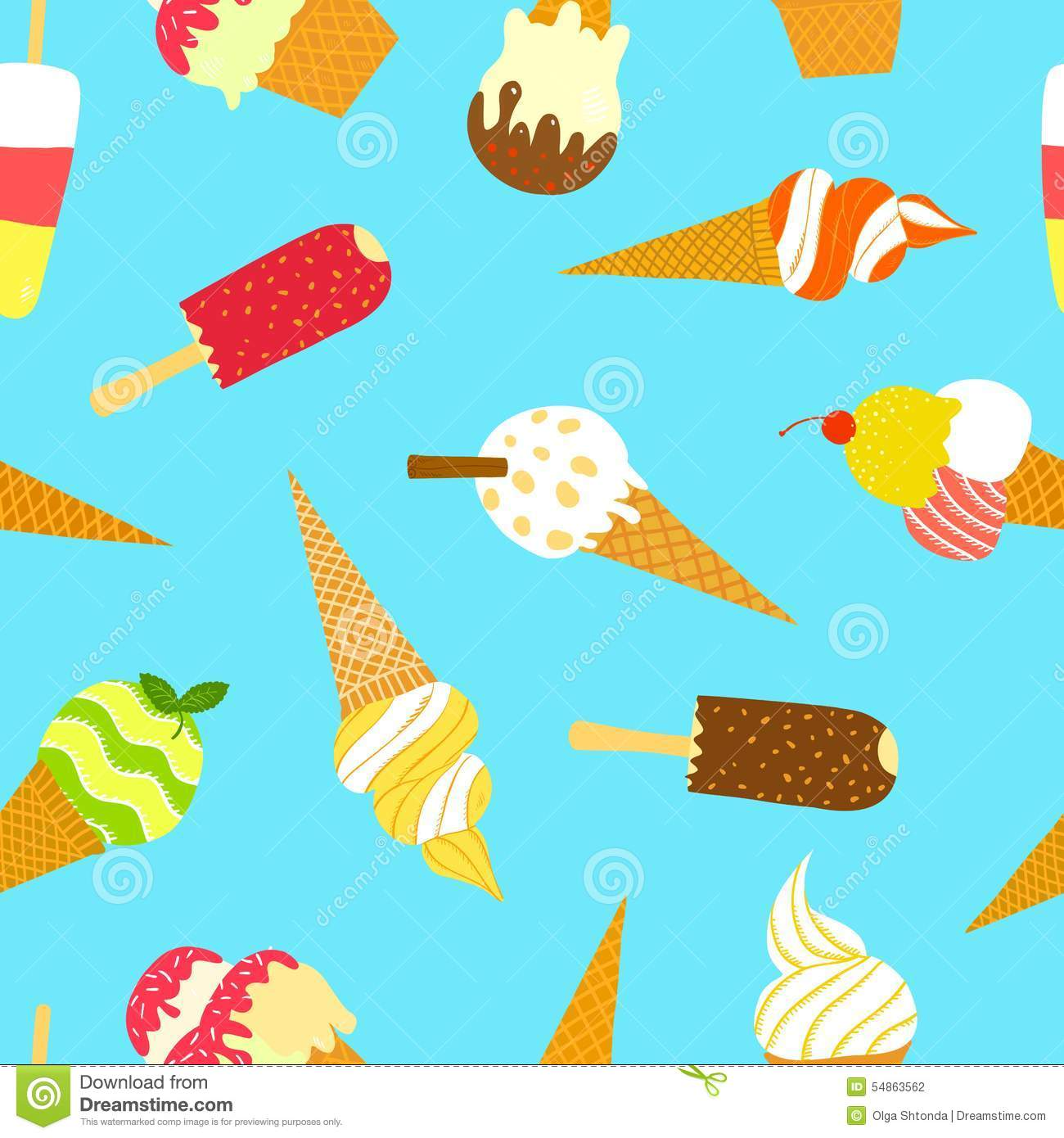 Free Backgrounds Ice Cream Cone Hd Desktop Wallpaper: Hand Drawn Ice Cream Pattern. Stock Illustration