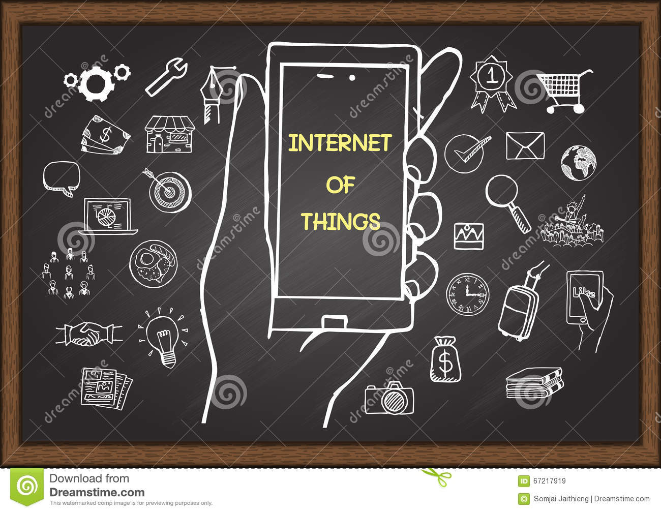 Hand drawn icons of internet of things, mobile marketing or digital marketing concept on chalkboard