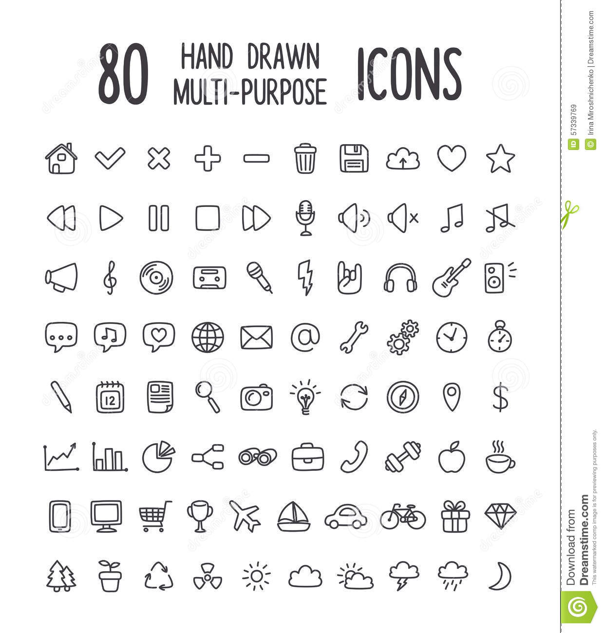 Hand Drawing Line Icons : Hand drawn icons stock vector illustration of computer