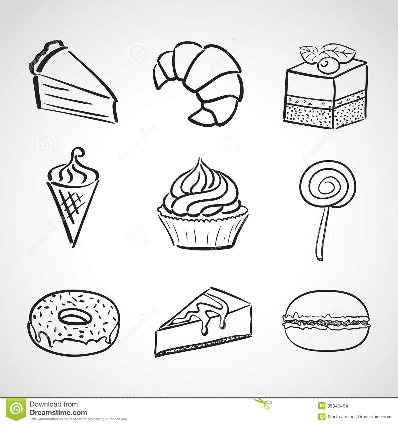 Hand Drawn Icons Sweets Stock Images Image 35840494