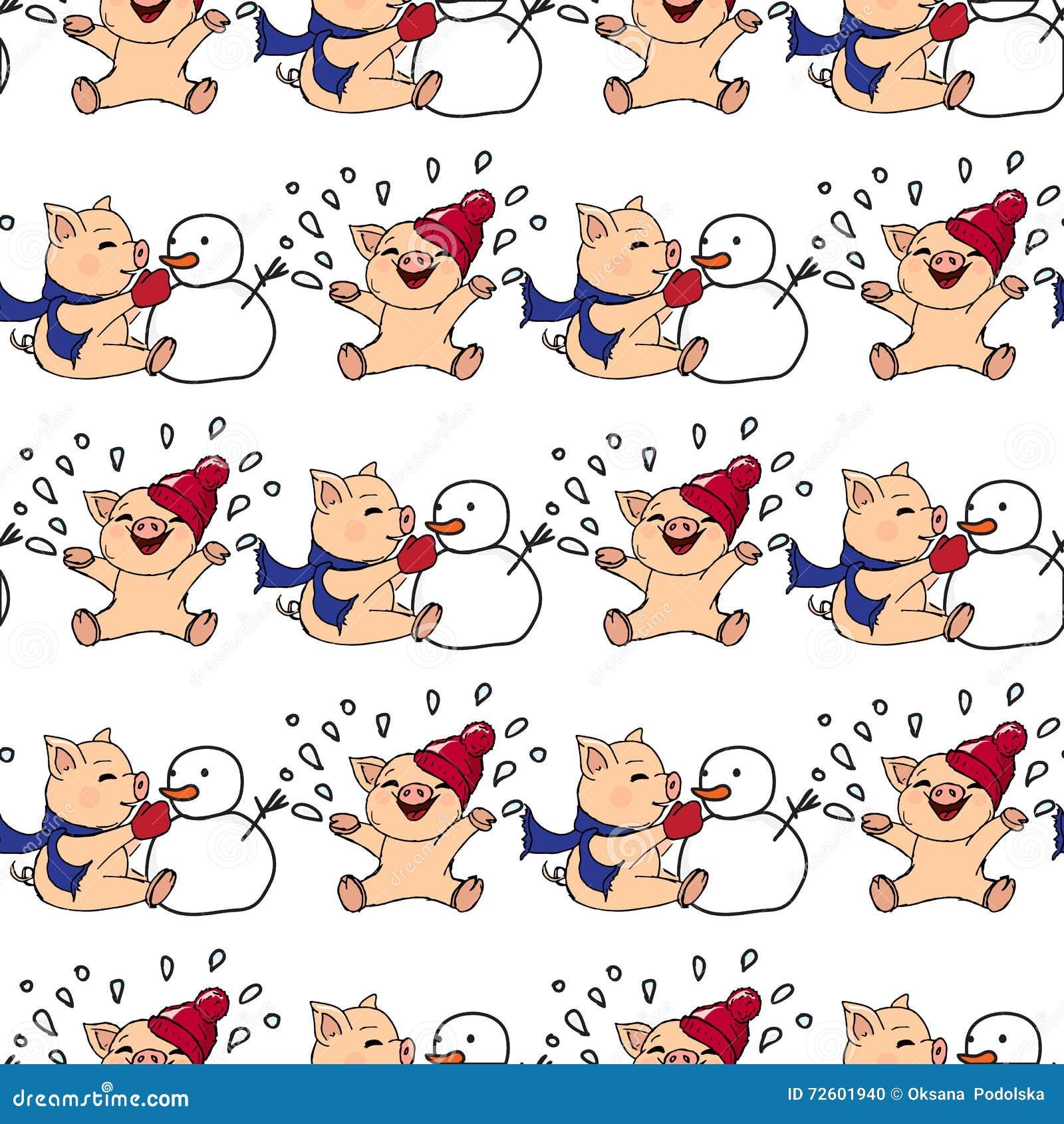 Hand-drawn illustraties Nieuwe jaaruitnodiging De winterkaart met varkens Kinderen die met sneeuw spelen Biggetjes en sneeuwman N
