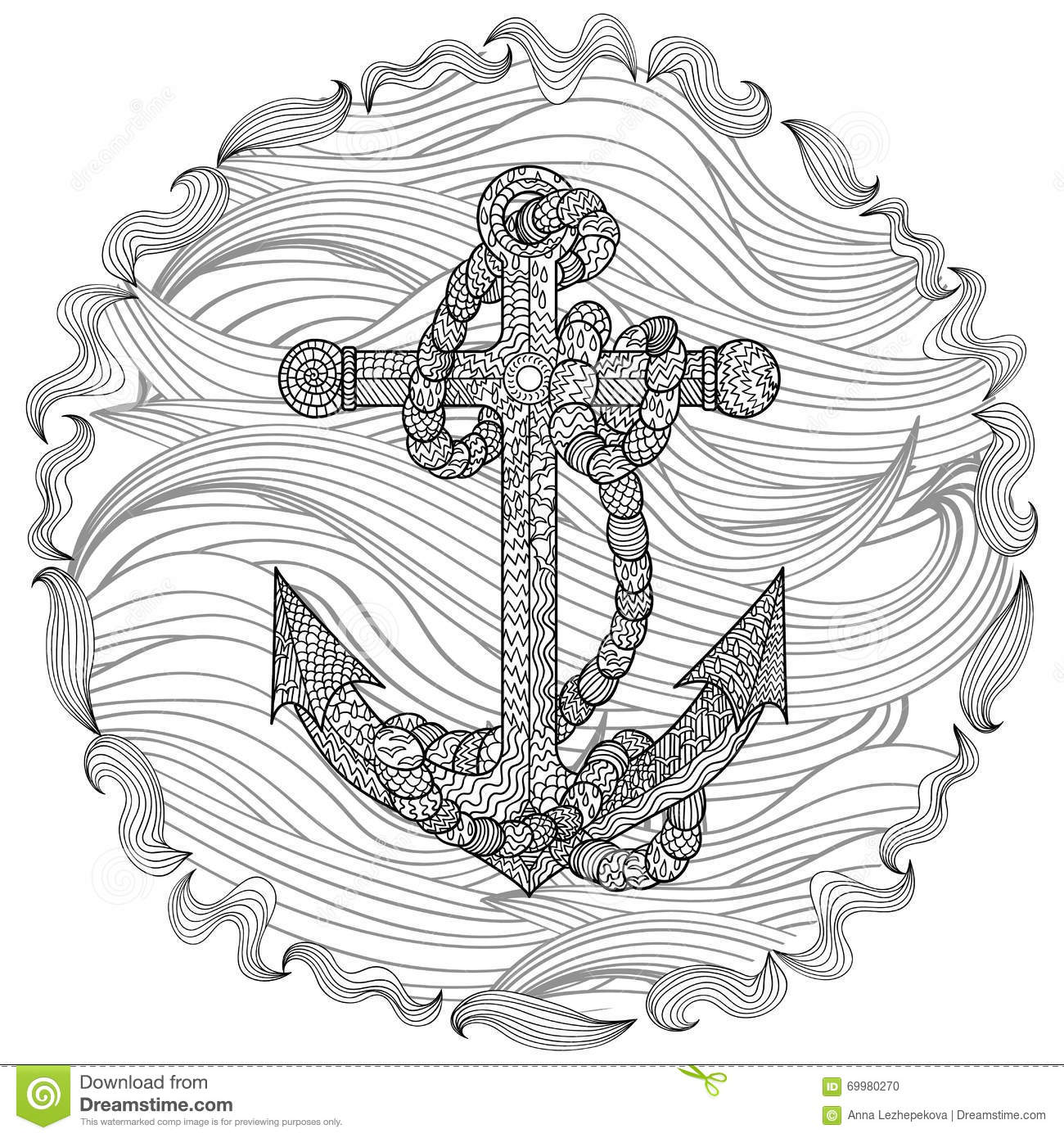 Illustration Of An Anchor And Rope In The Zentangle Style Sketch For Tattoo Poster Print T Shirt Zendoodle Adult Antistress Coloring Page