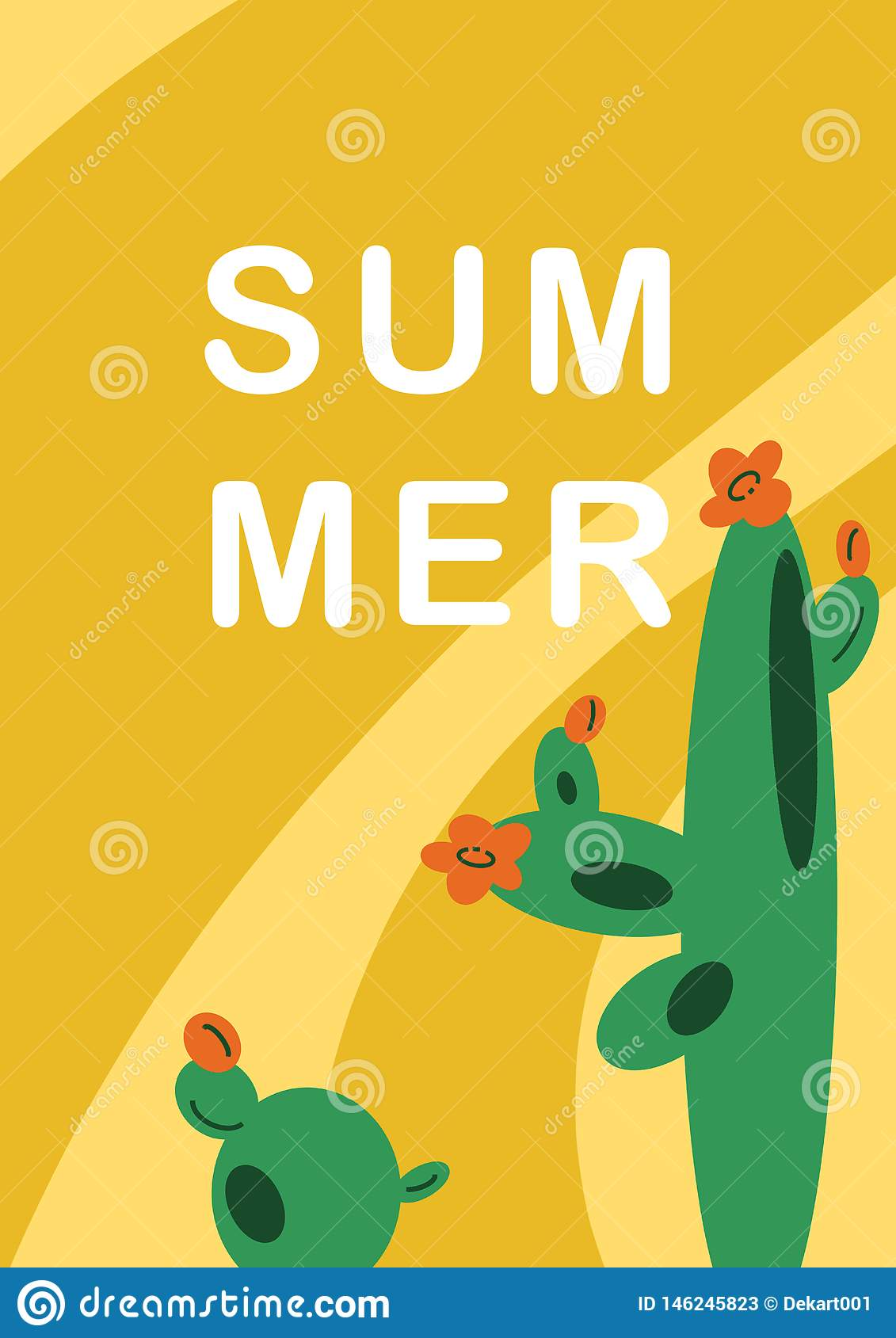 Hand-drawn illustration background with Mexican cactuses in flat cartoon style.