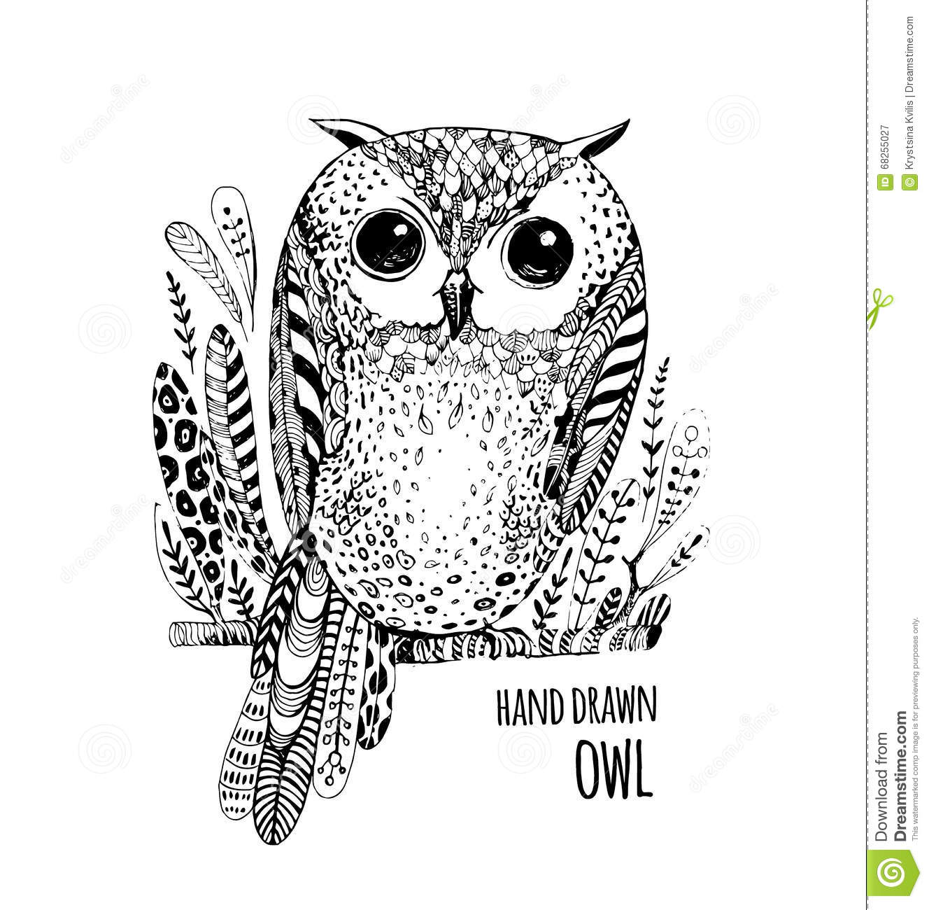 Hand Drawn Illustration Bird. Art Coloring Book Owl Stock Vector ...