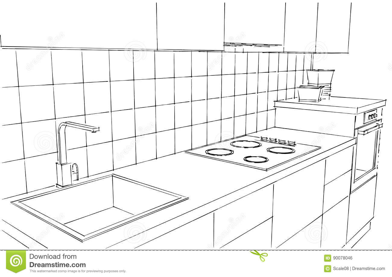 Hand Drawn Illustration Of Contemporary Kitchen Counter Isolated