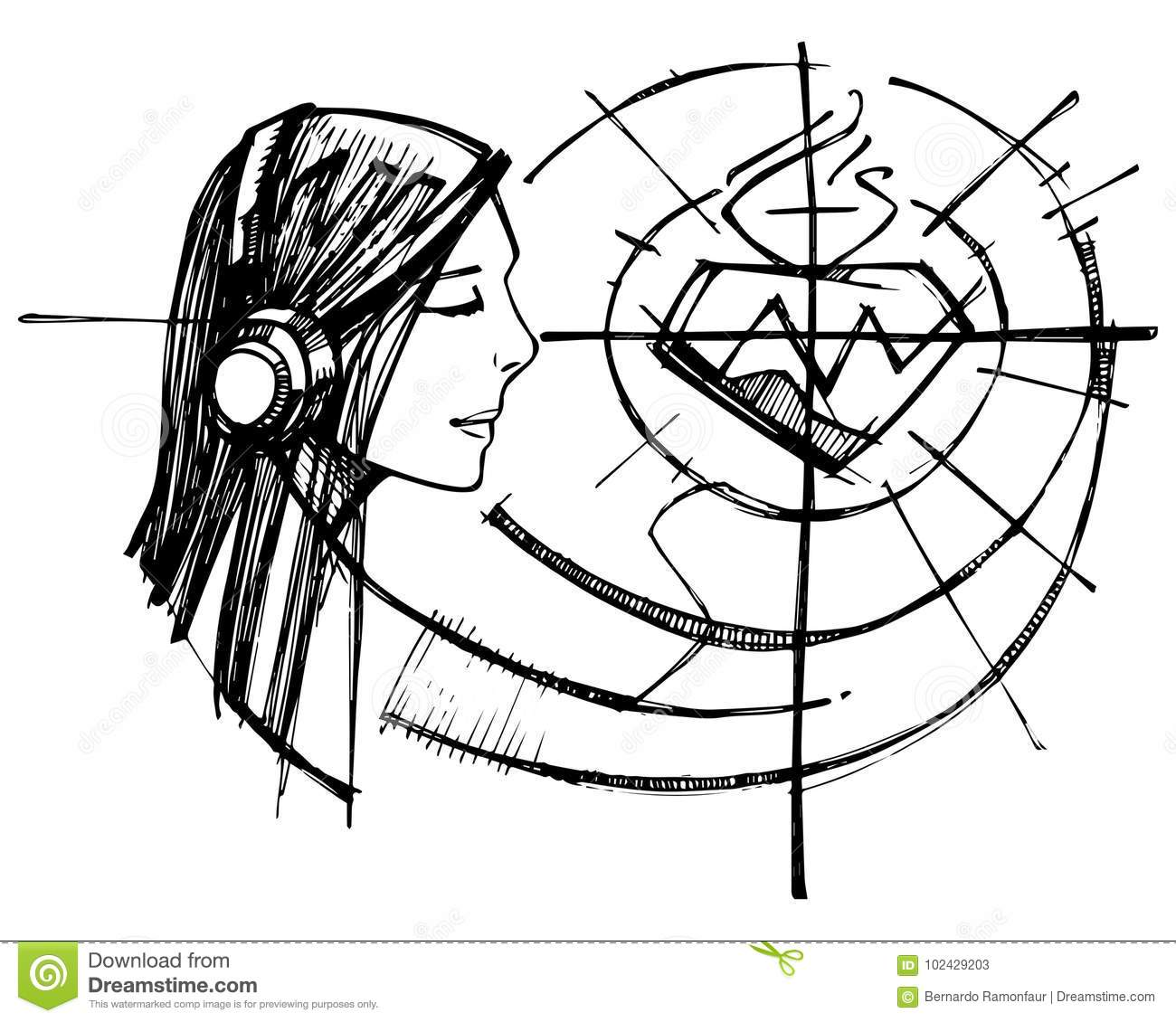 Woman Listening Jesus Sacred Heart Stock Illustration