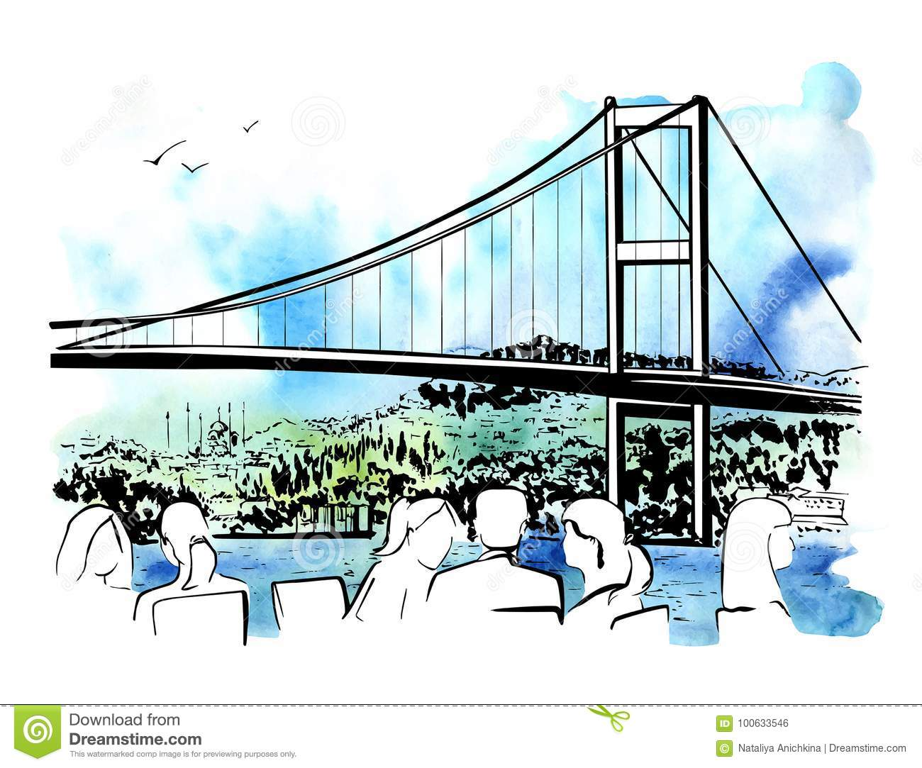 Vector hand drawn illustration with Istanbul bridge