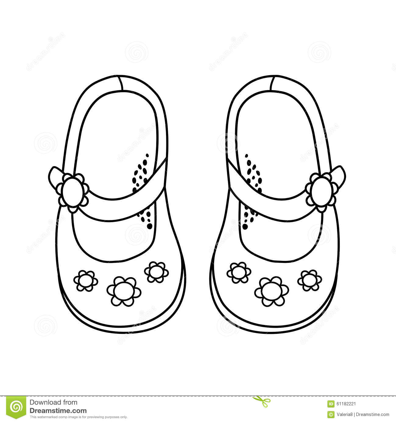 Hand Drawn Illustration Of Fashionable Shoe For Girl Stock