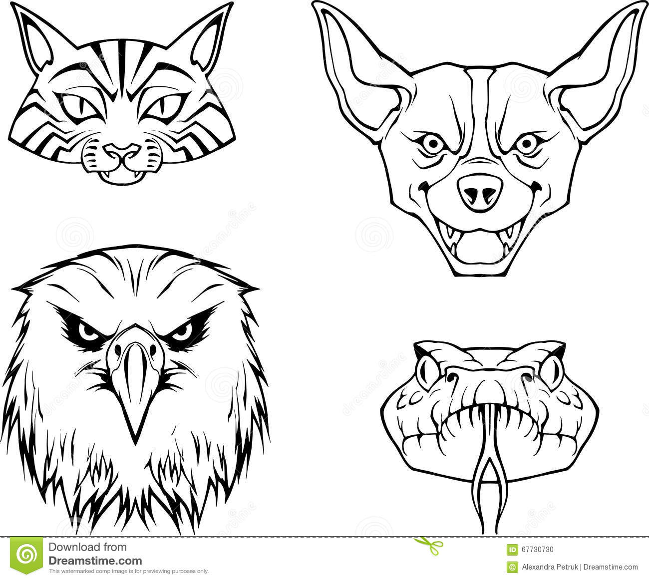 Line Drawing Of Animal Faces : Hand drawn illustration of four animal faces stock vector
