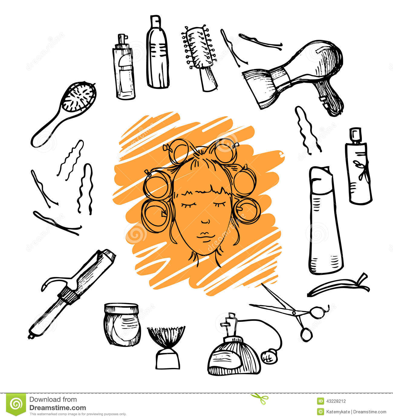 Hand drawn illustration - Hairdressing tools (scissors, combs, styling) and woman with hair rollers