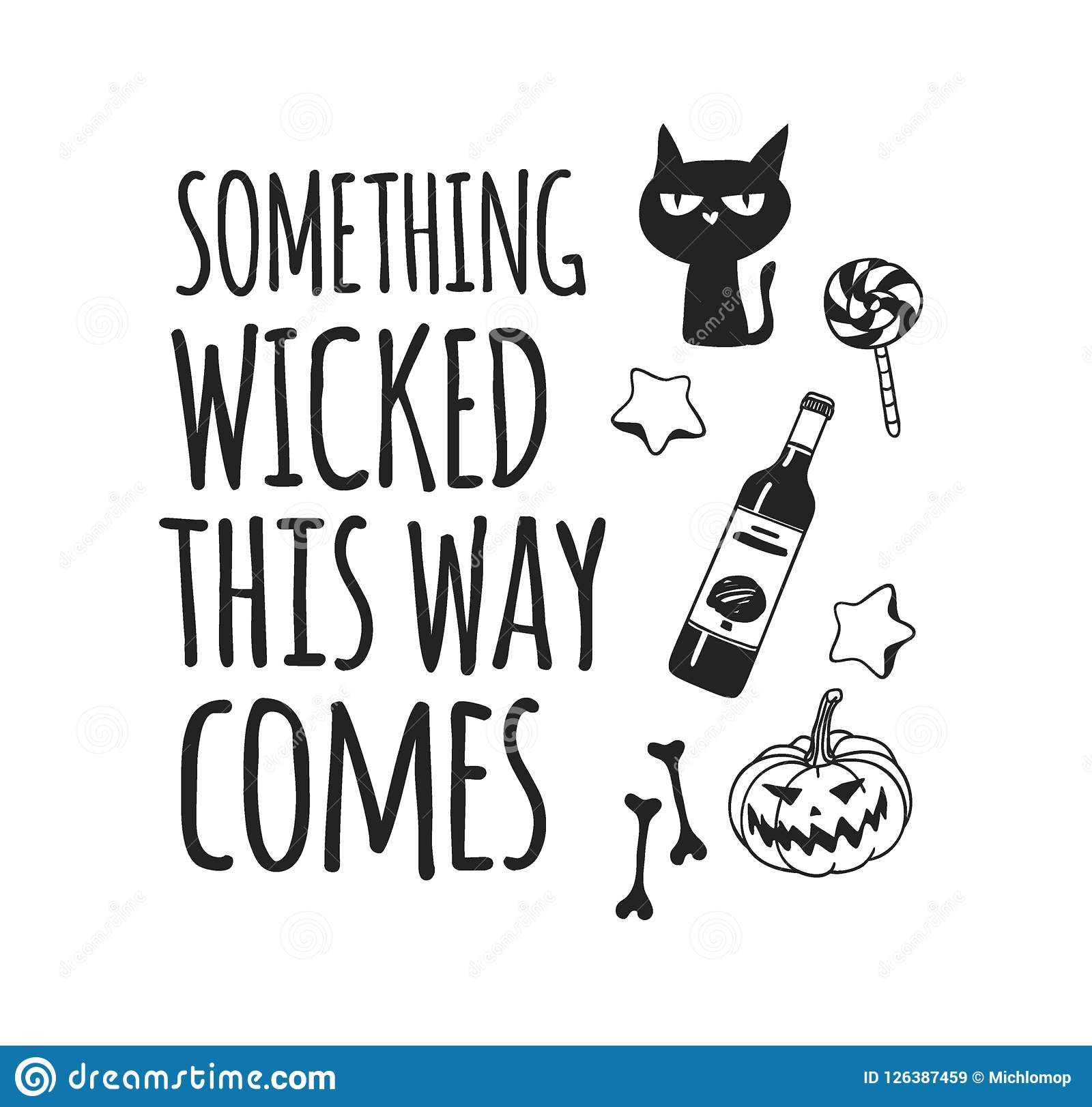 Hand Drawn Illustration Halloween Objects And Quote