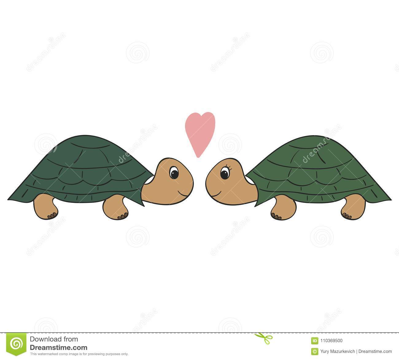 Hand drawn illustration, a pair of turtles