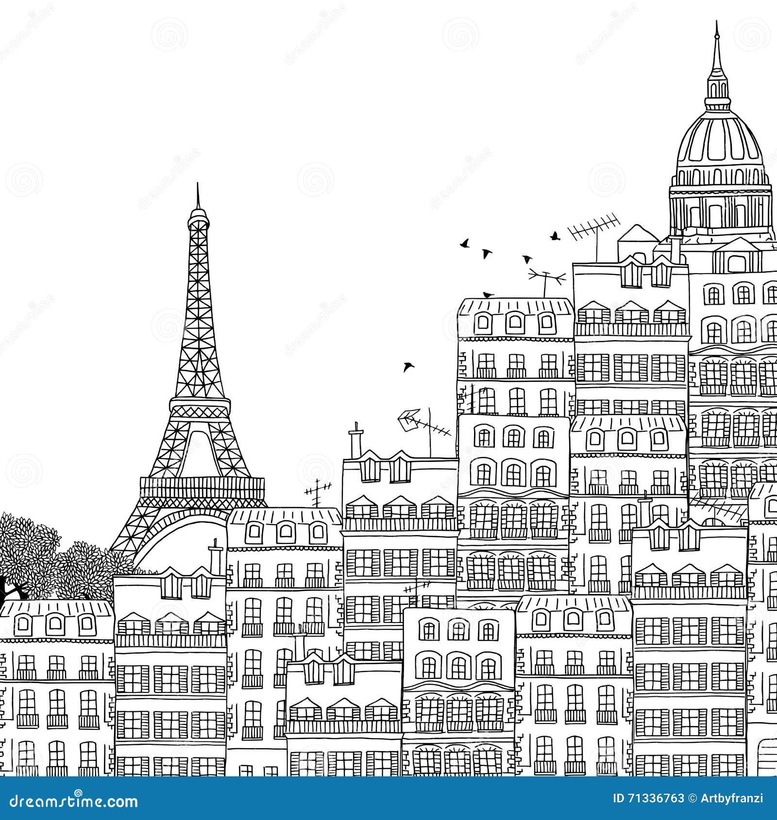 Paris Illustration: Hand Drawn Illustration Of Paris Stock Vector