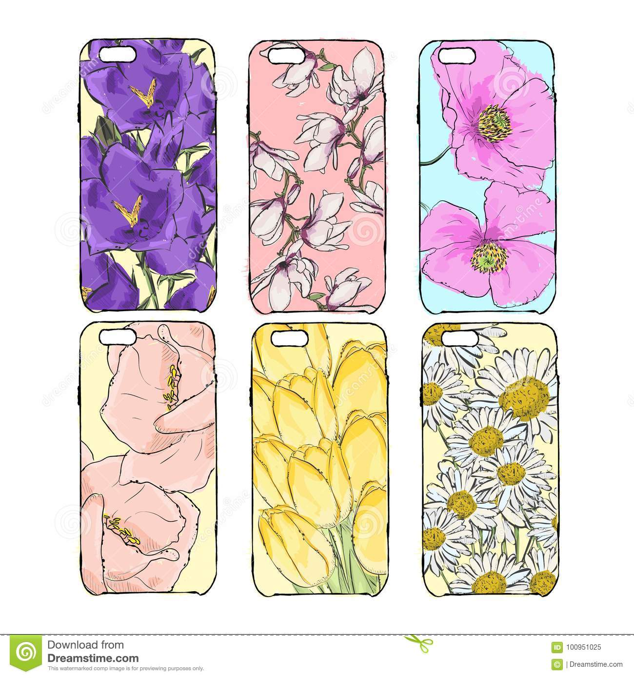 Hand Drawn Illustration Of Phone Accessories Isolated From