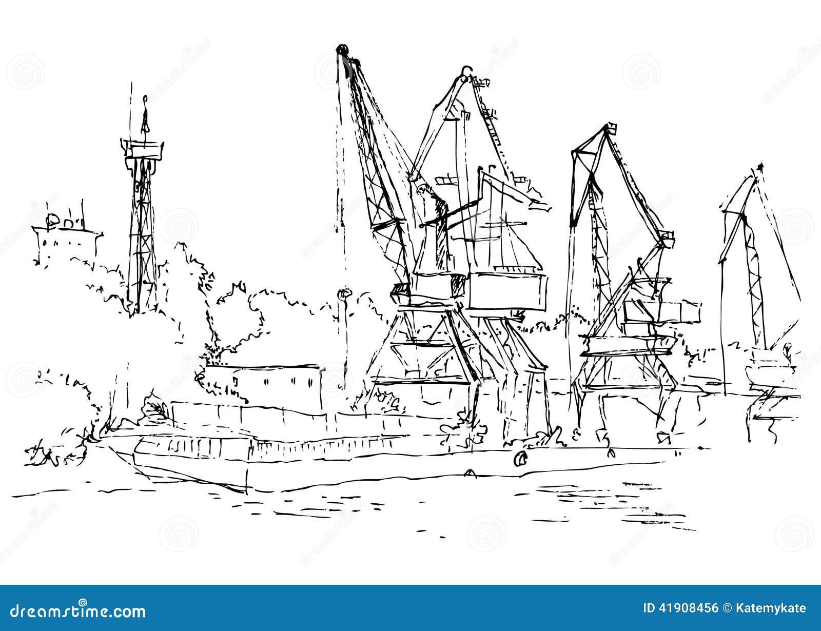 hand drawn illustration port summer  line art stock vector