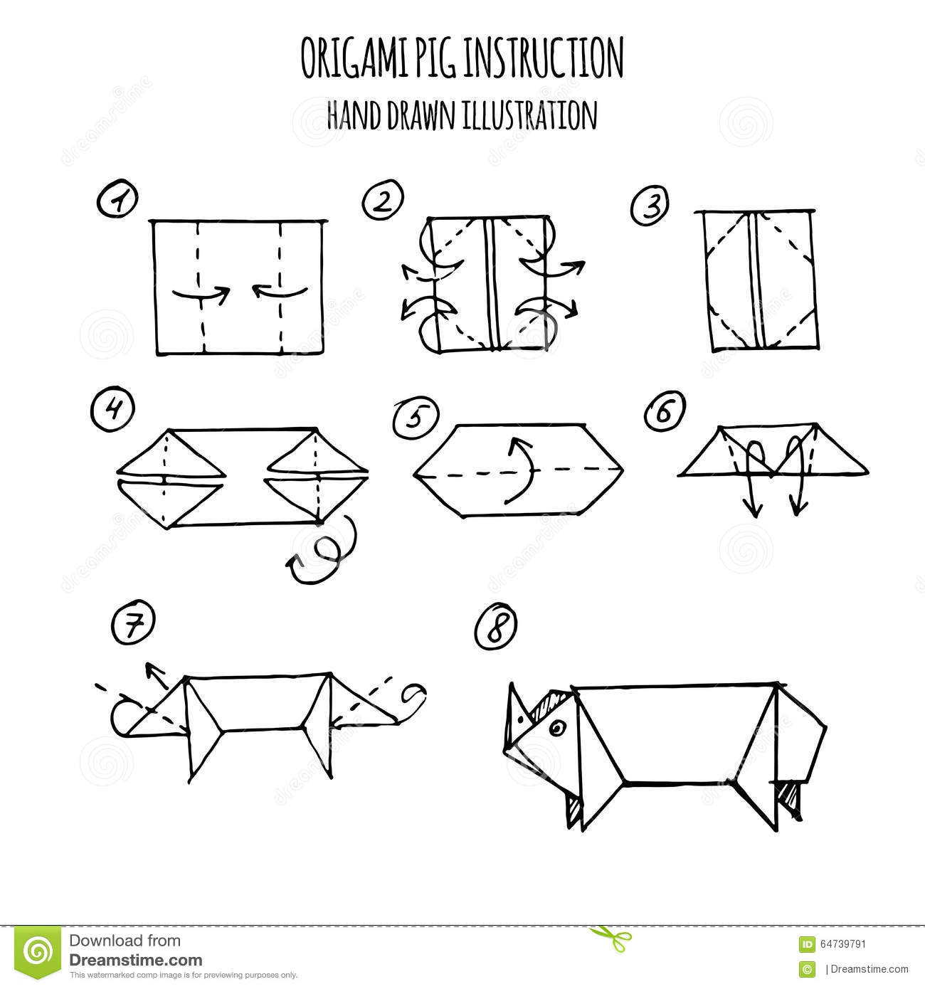 Hand Drawn Illustration Step By Step Of Pig Origami Stock ... - photo#32