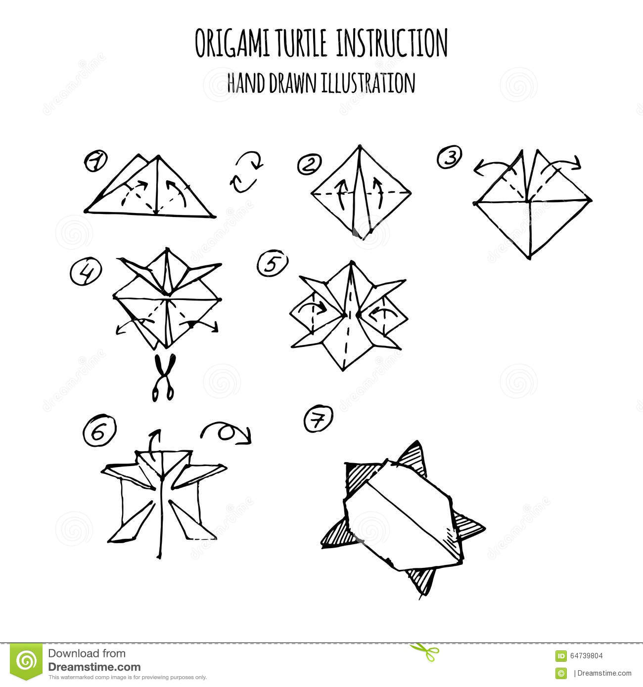 Hand Drawn Illustration Step By Step Of Turtle Origami Illustration