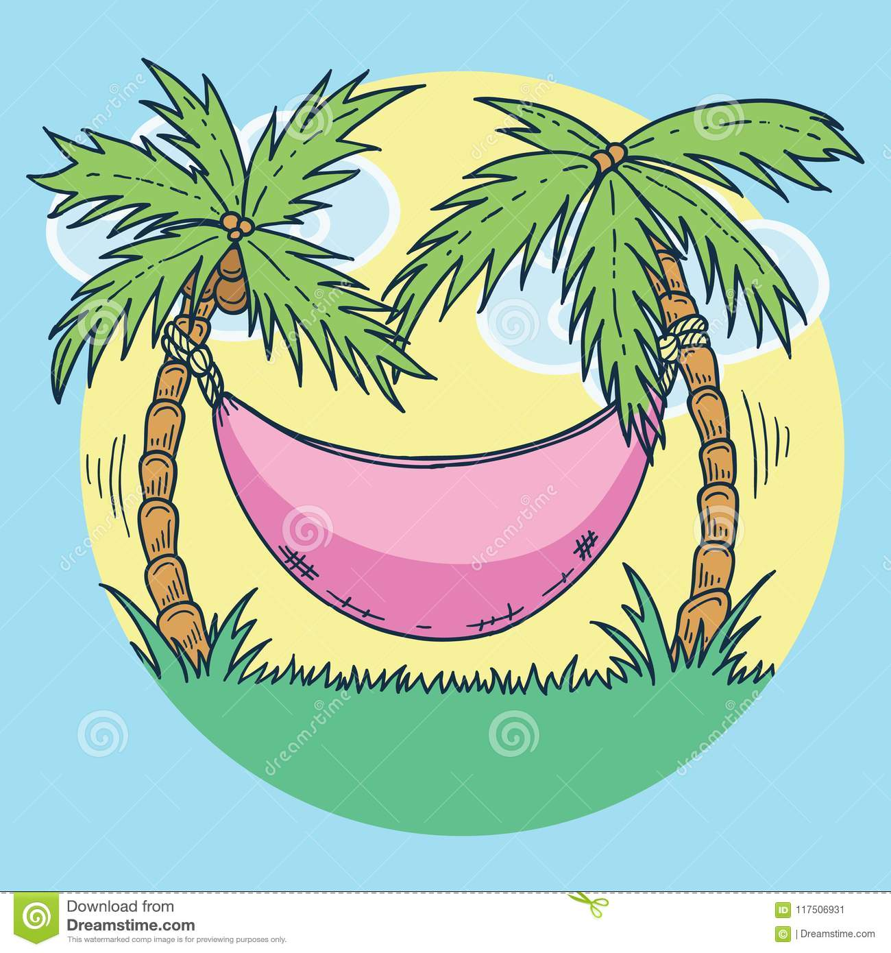 Hand Drawn Illustration Of Summer Vacation On Tropical