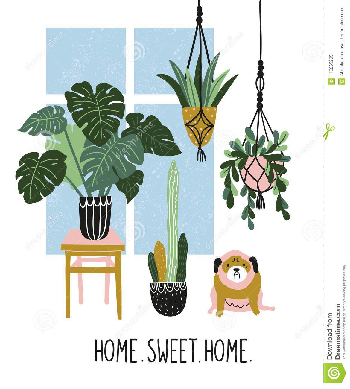Hand drawn illustration with tropical house plants, window and cute dog. Vector poster design with text - `home sweet home`.