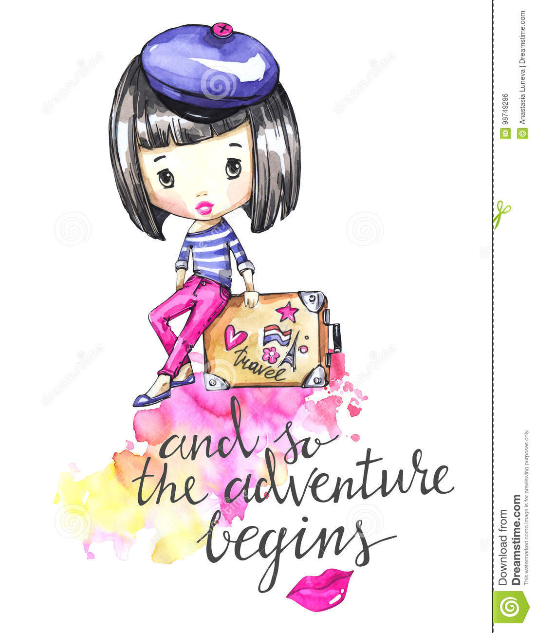 Hand drawn illustration. Watercolor card young girl with travel bag. Calligraphy words . Adventure, vacation. Can be