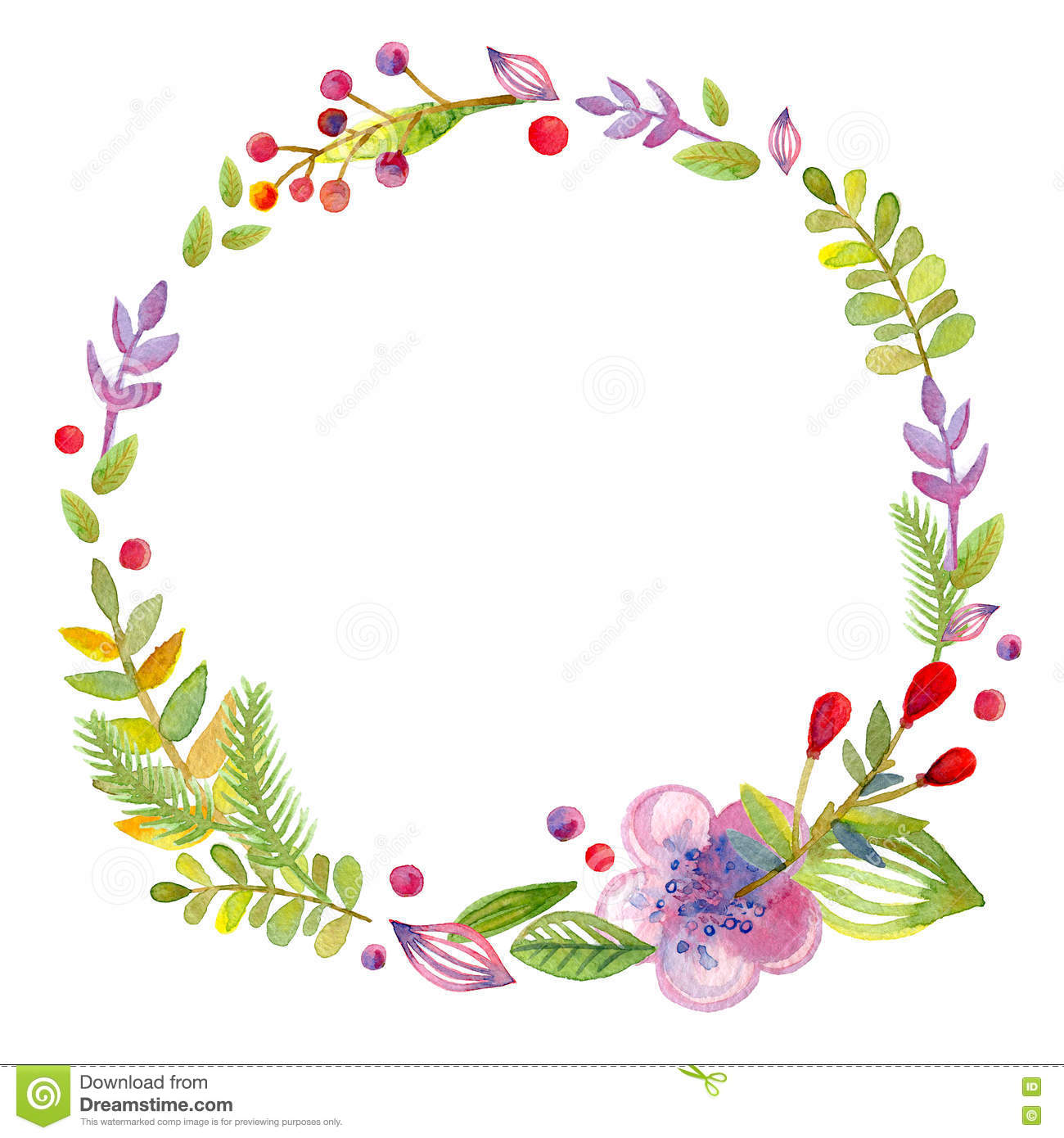 Hand Drawn Illustration - Watercolor Wreath. Christmas Wreath With ...