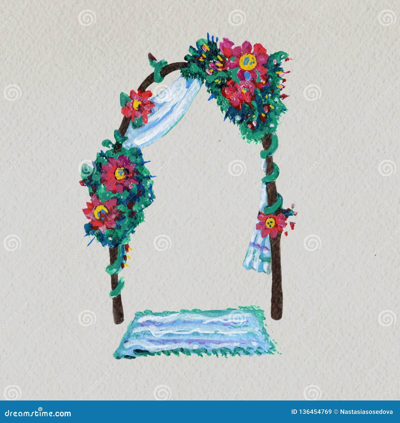 Hand Drawn Illustration Of Wedding Arch Stock Illustration Illustration Of Florist Altar 136454769