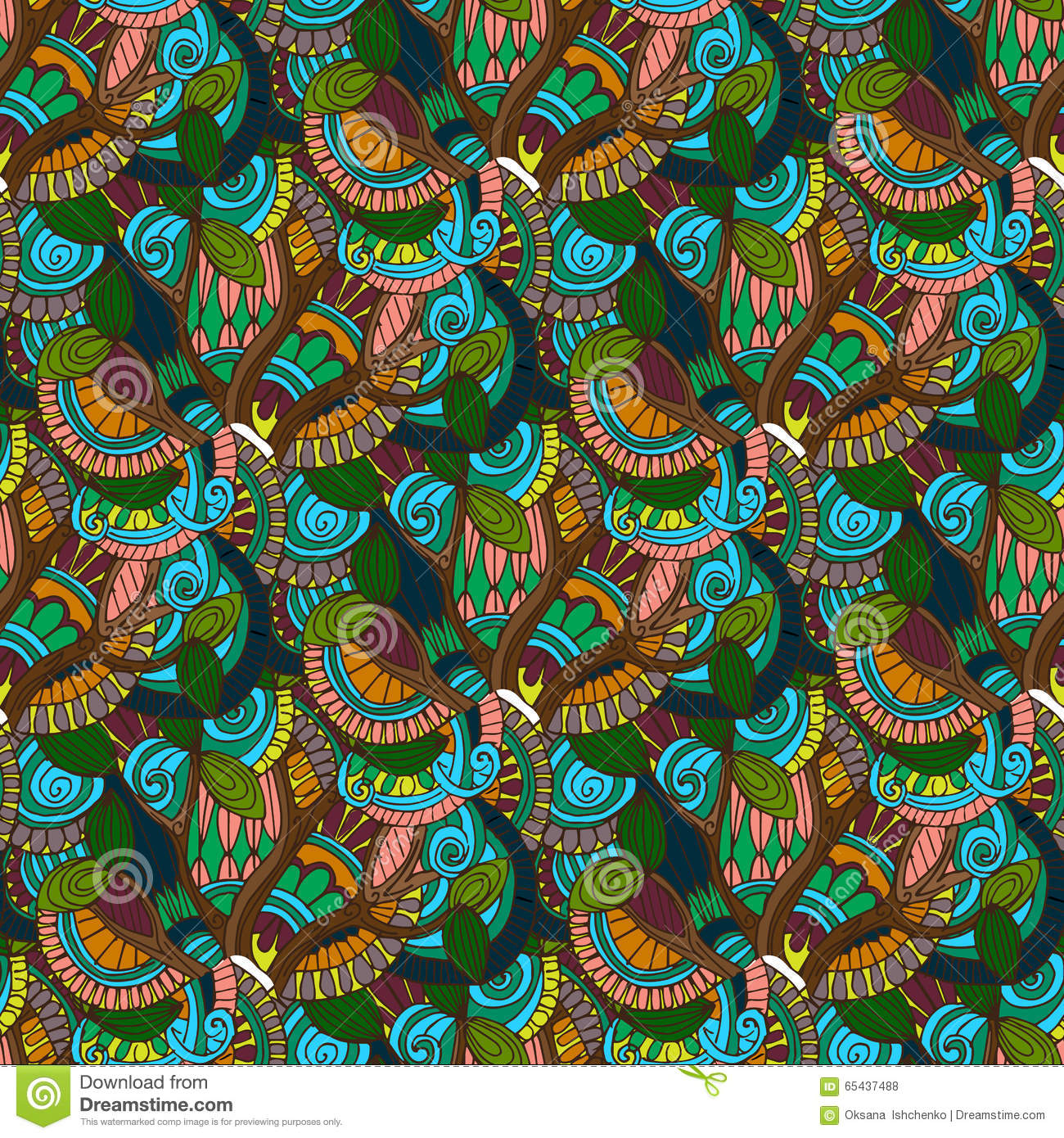 Hand-drawn illustrations. Color natural abstraction. Seamless pattern.