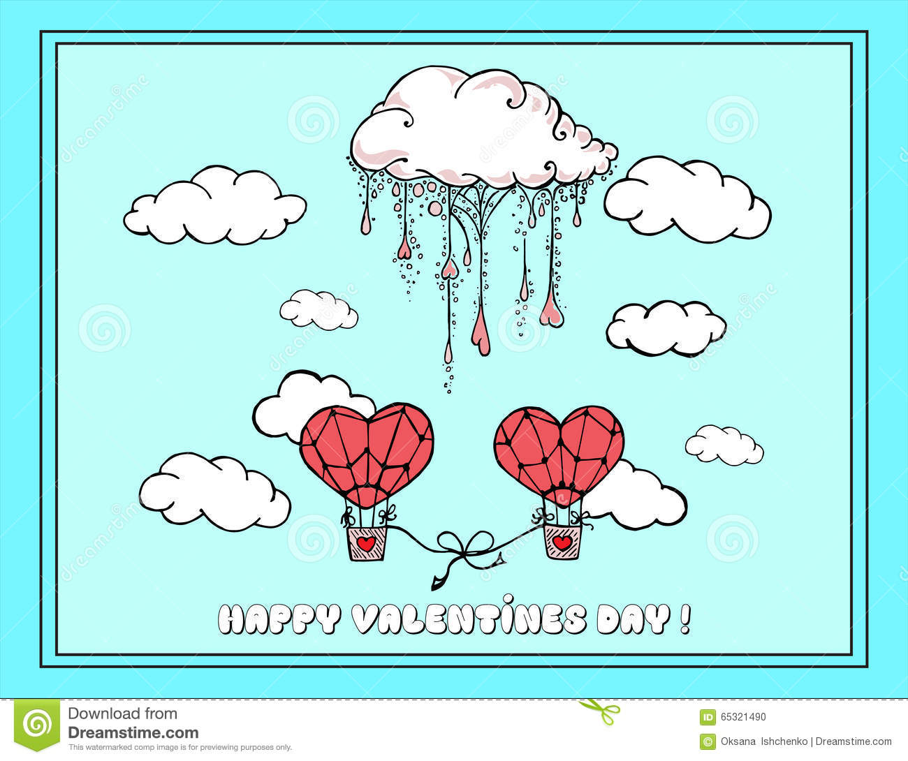 Hand Drawn Illustrations Greeting Card For Valentines Day Feast