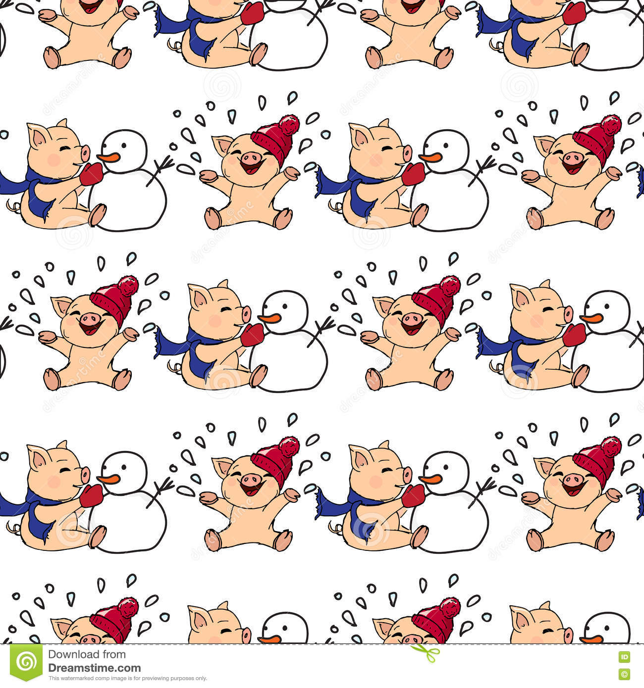 Hand-drawn illustrations. New Year card. Winter card with pigs. Children playing with snow. Piglets and snowman. Seamless