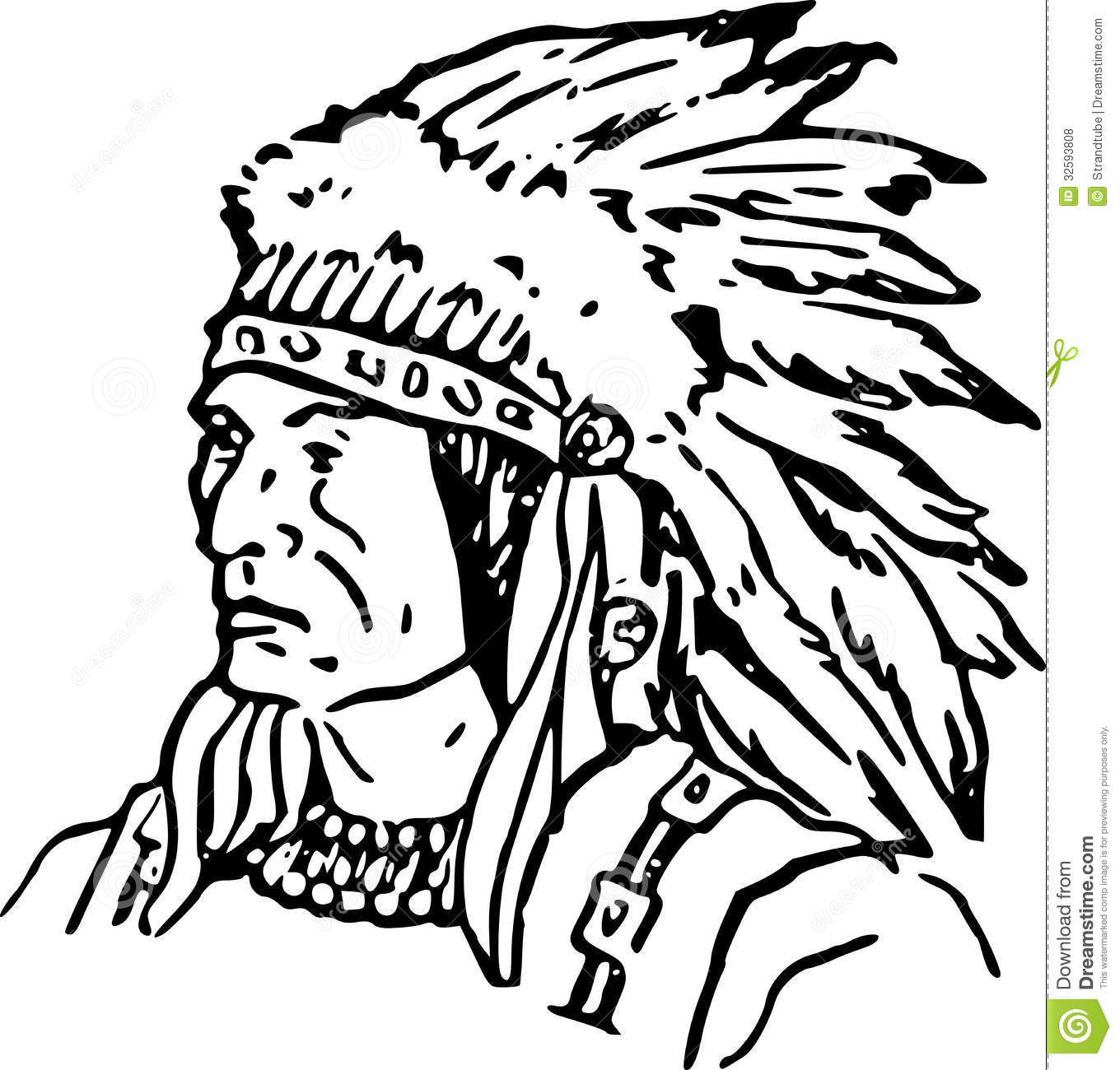 Hand drawn indian chief eps stock vector image 32593808 for Free indian coloring pages