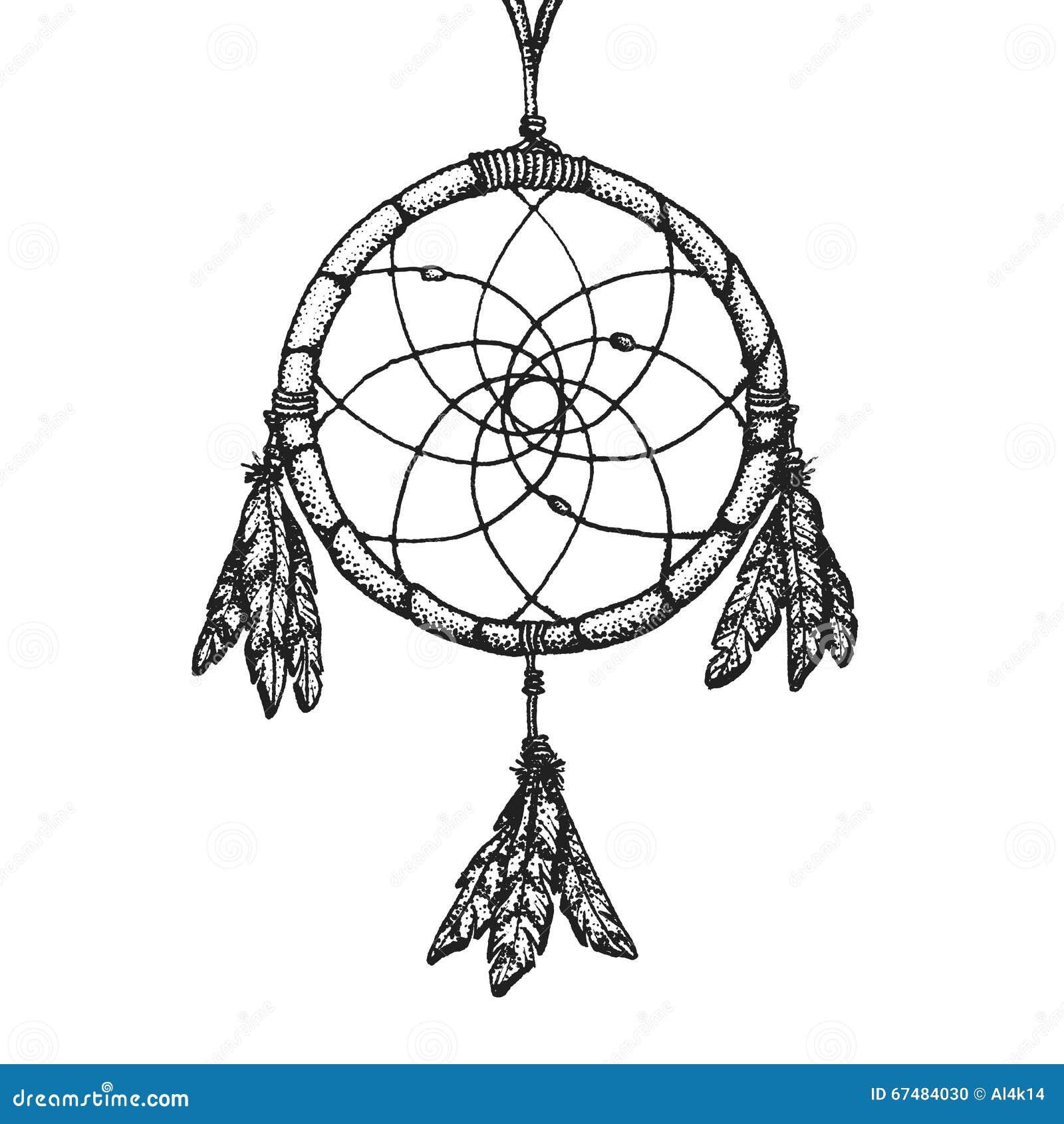 2666da6dc Vector black color monochrome dotted art retro tattoo gravure style native  american dream catcher isolated decorative element realistic illustration  white ...