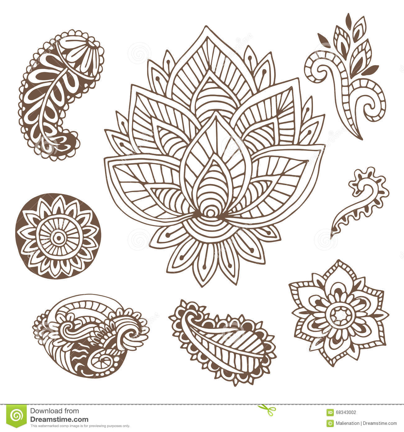 Henna Design Line Art : Hand drawn indian ornaments collection vector