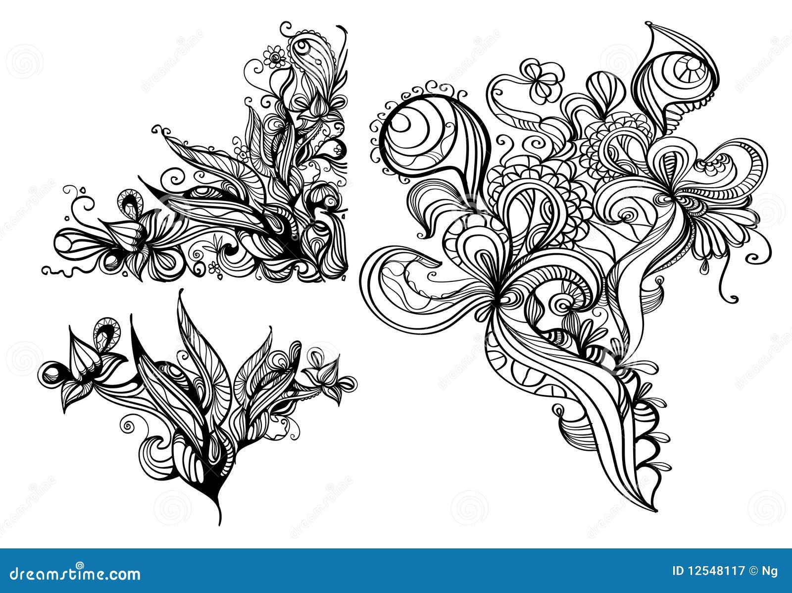 Hand-drawn ink design elements