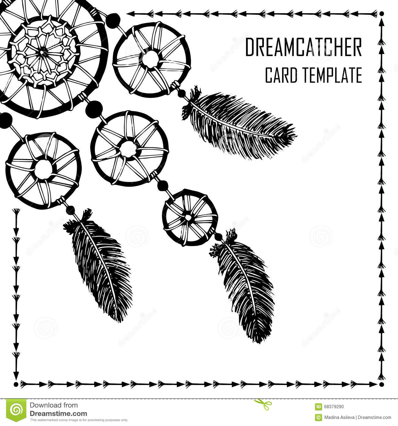 dream catcher on an arrow with calligraphy text dream on stock