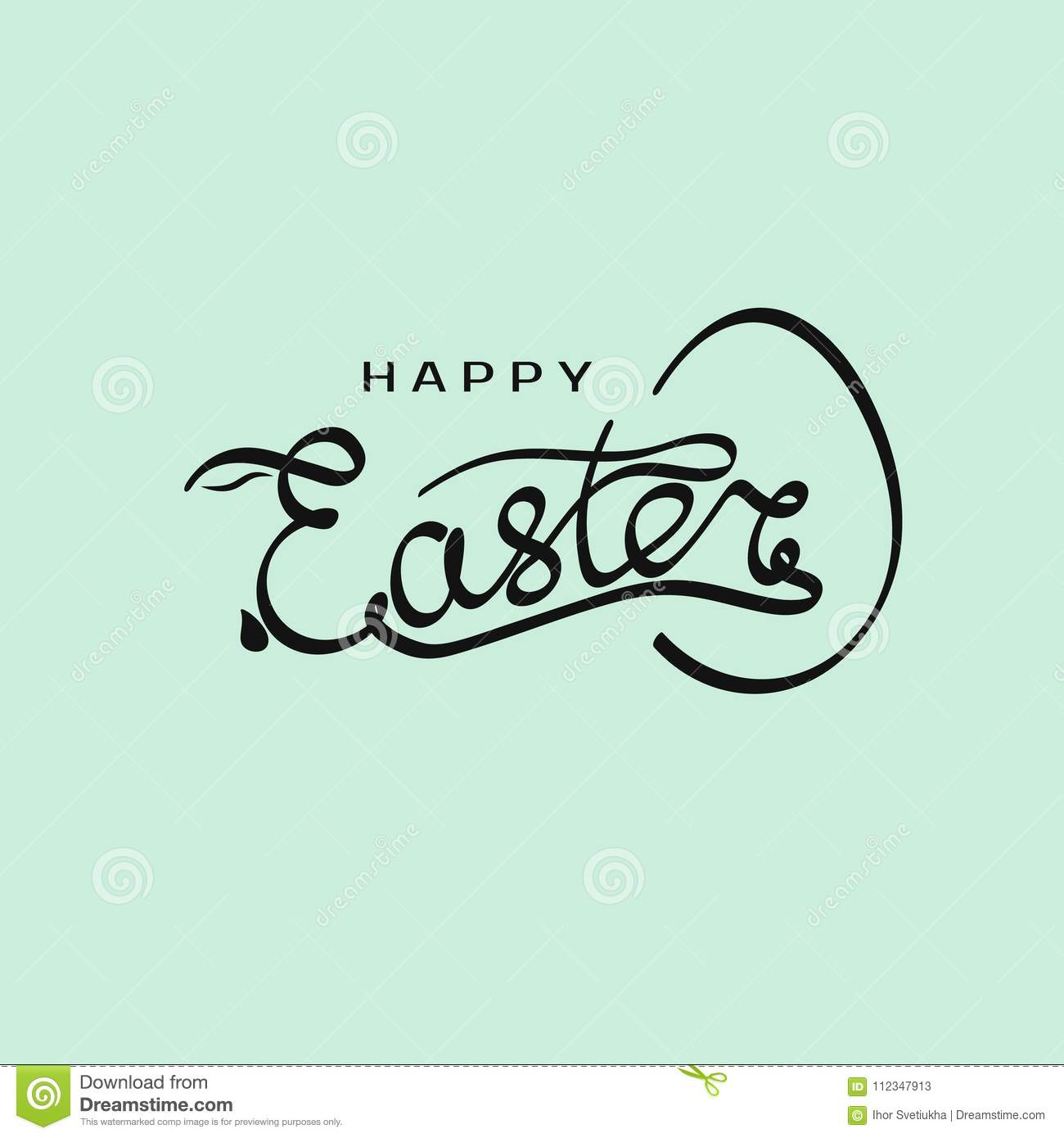 hand drawn inscription happy easter with rabbit silhouette in letter e and egg template vector