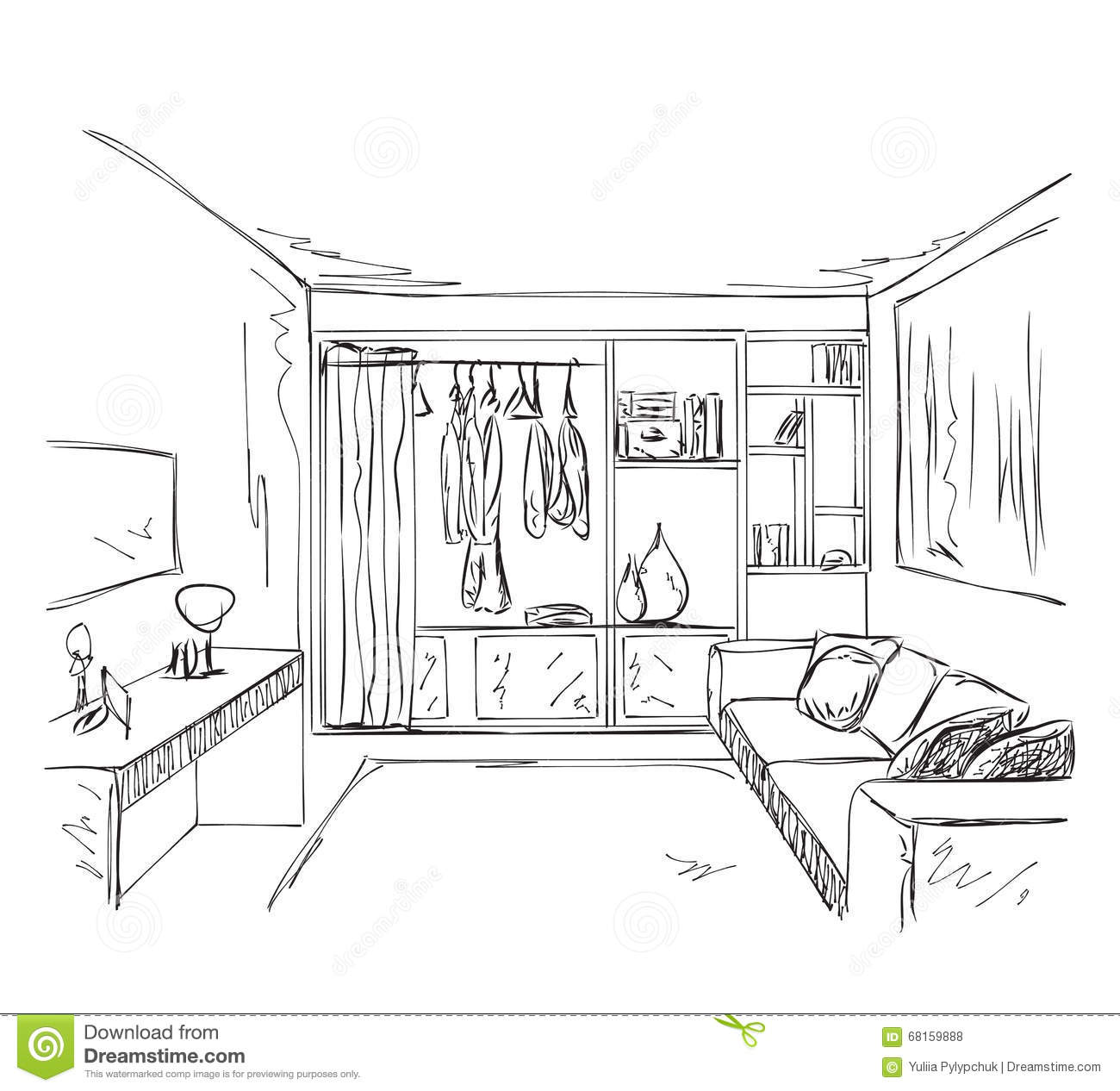 Hand Drawn Interior Room With Wardrobe Sketch Stock