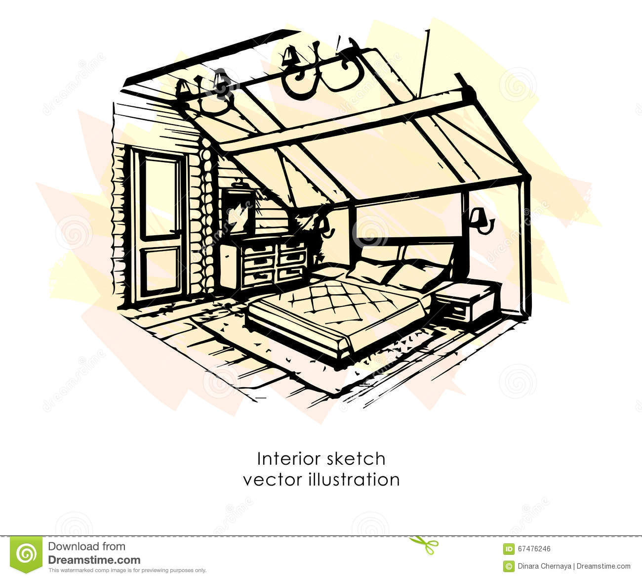 Hand drawn interior sketch home design bedroom provence for Sketch house plans free