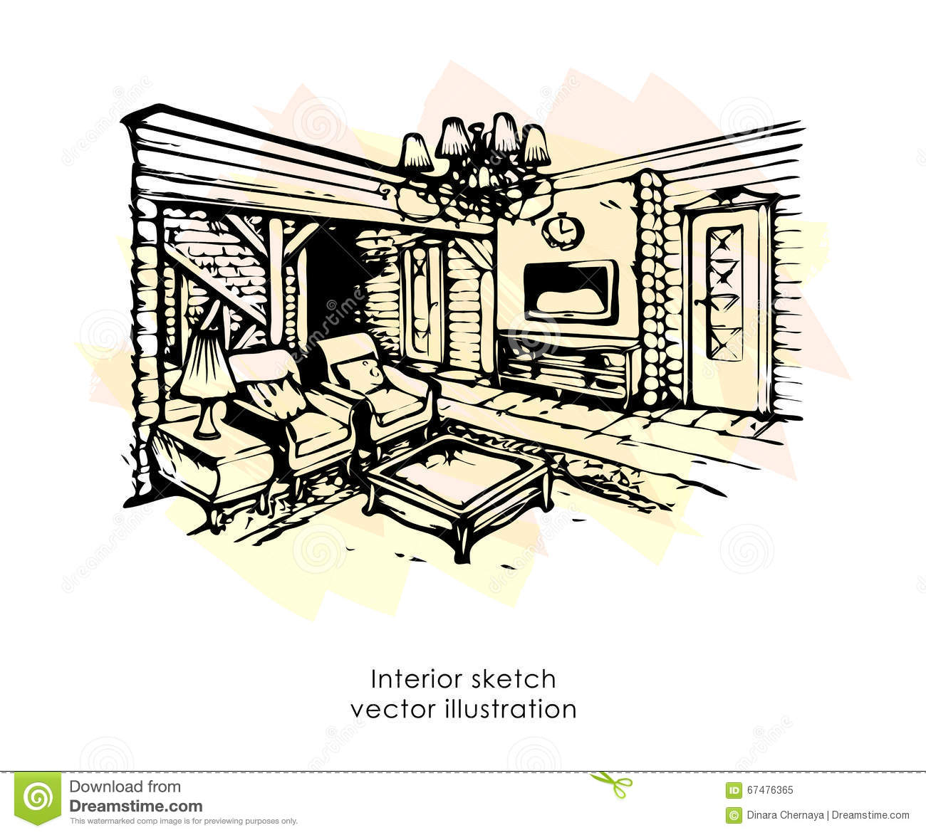 Hand drawn interior sketch home design bedroom provence for Interieur provence
