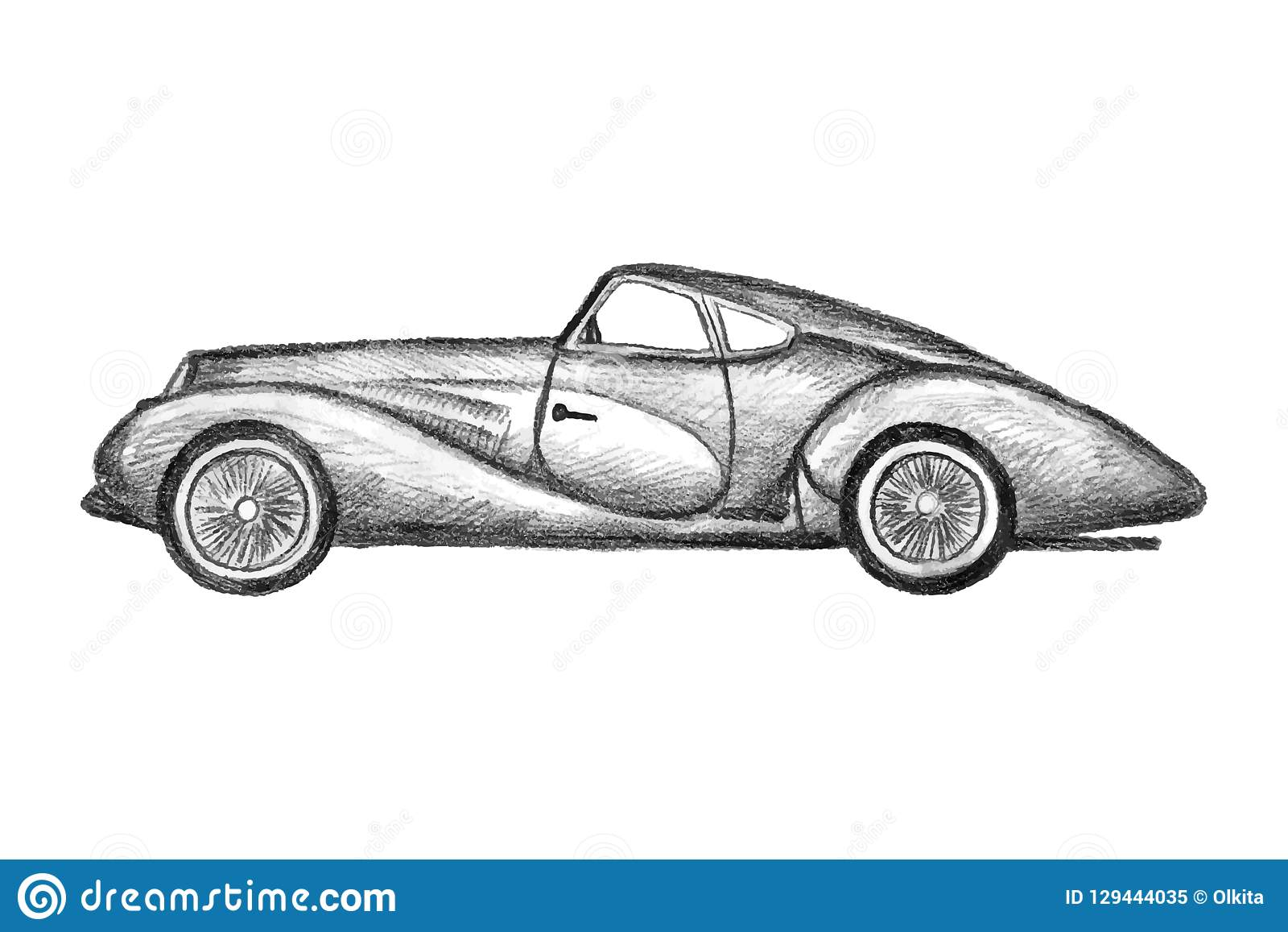 Hand drawn invented retro car black pencil drawing on white background hardtop sedan sport car