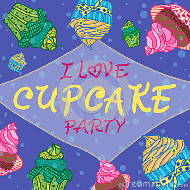 Hand drawn invitationfor card with cupcakes, Best for party cafe or restaurant