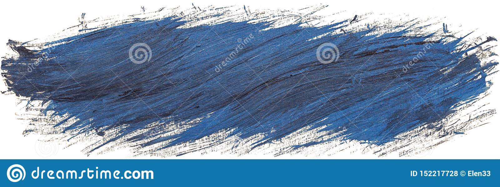 Hand drawn isolated paintbrush acrylic long stripe with diagonal brush strokes, dirty blue color