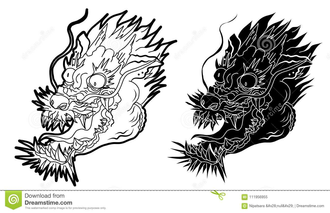 Hand drawn Japanese dragon head on white background.doodle art and Fairytale animal dragon`s head.