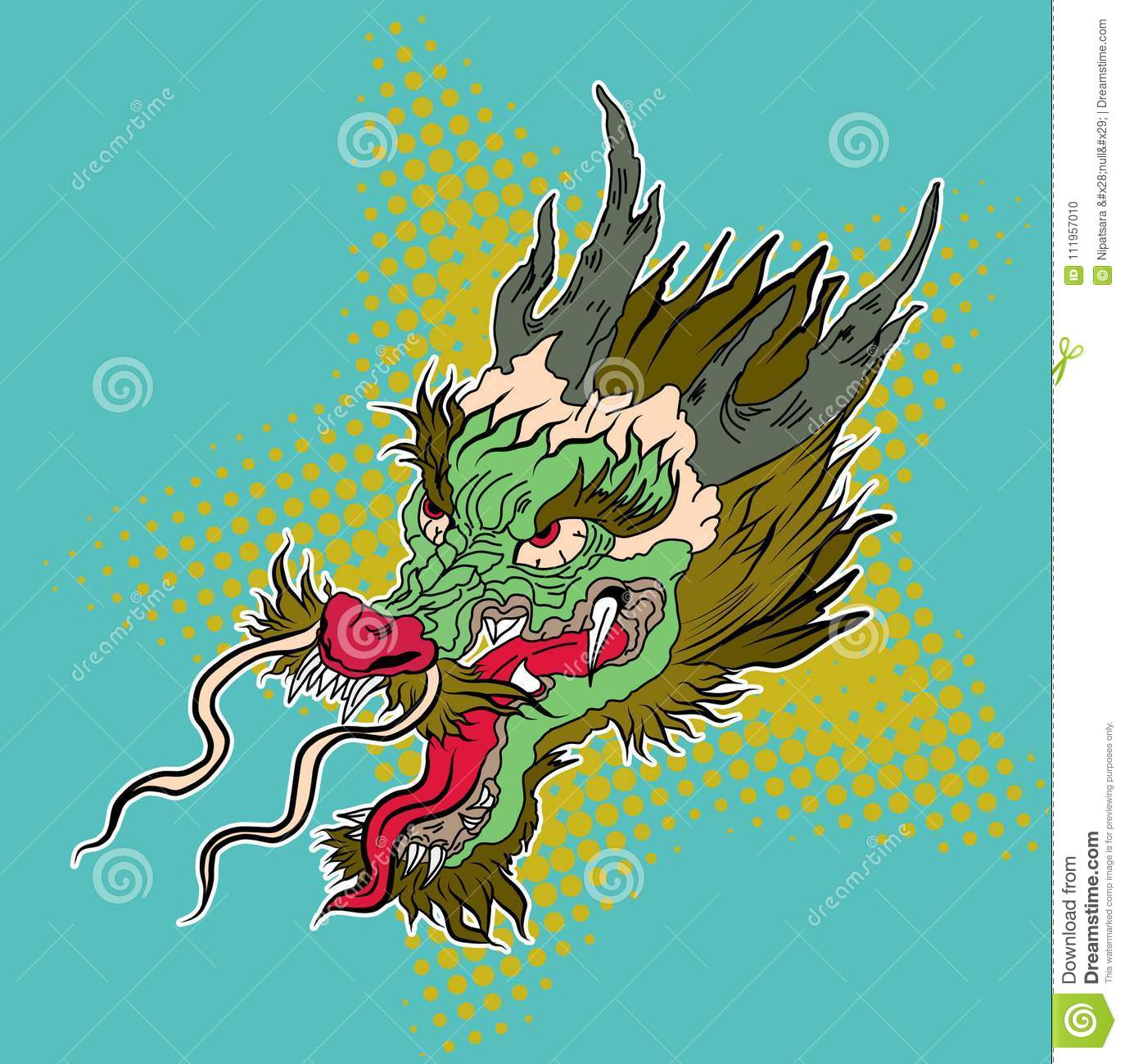 1479e3de356 Comic art and retro style roaring dragon on halftone color vector.Hand  drawn Japanese dragon head on white background.doodle art and Fairytale  animal ...