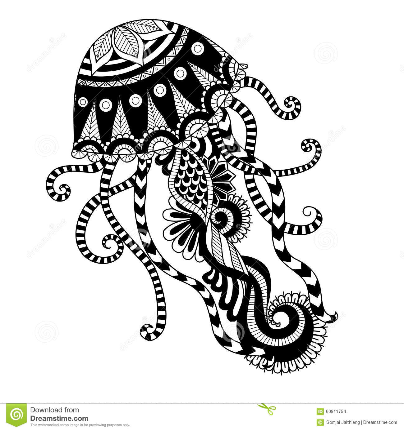 Hand Drawn Jellyfish Zentangle Style For Coloring Book Shirt Design