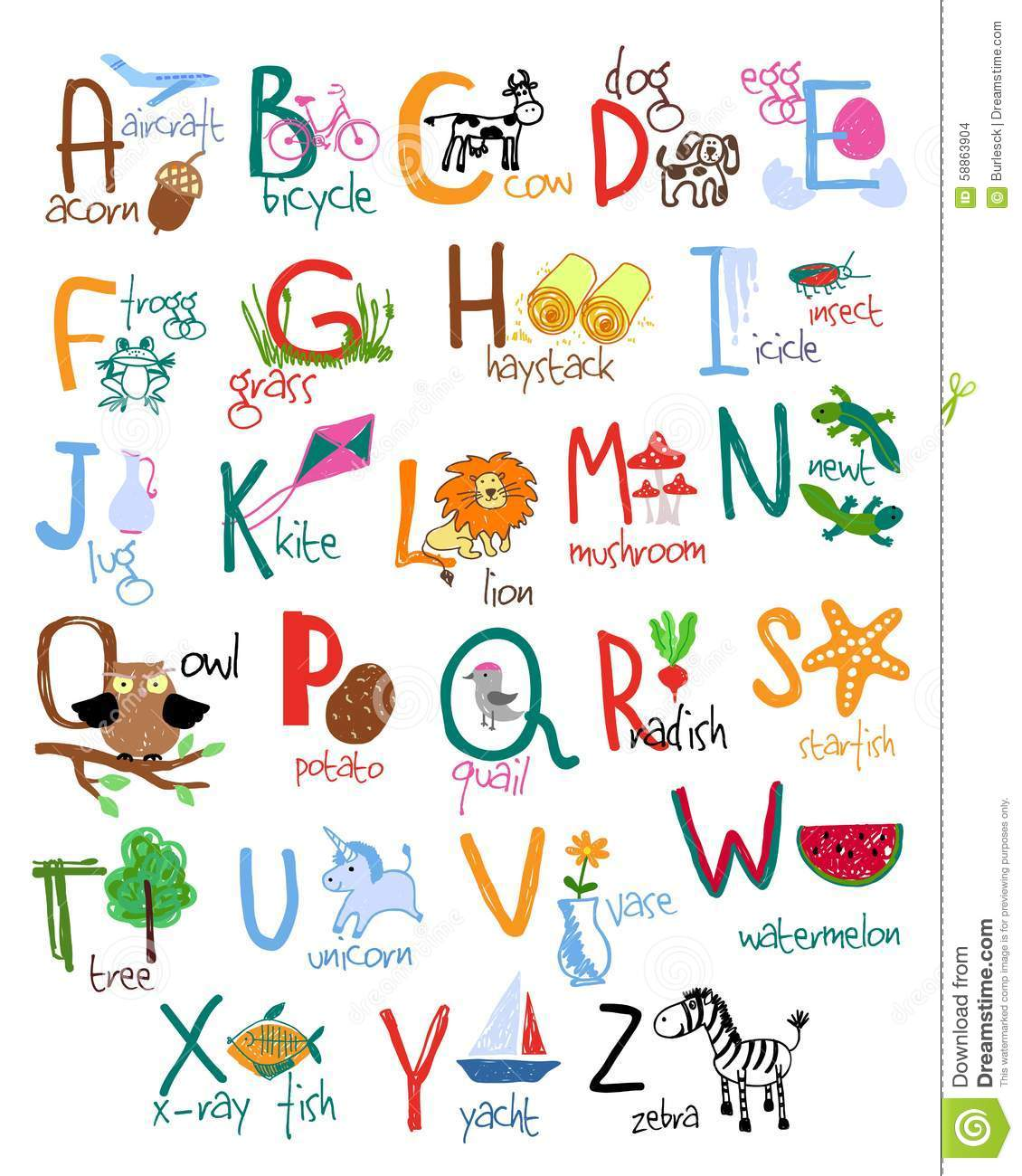Stock Illustration Hand Drawn Kids Alphabet Words Icons Vector Abc Image58863904 on Printable Number Chart 1 100