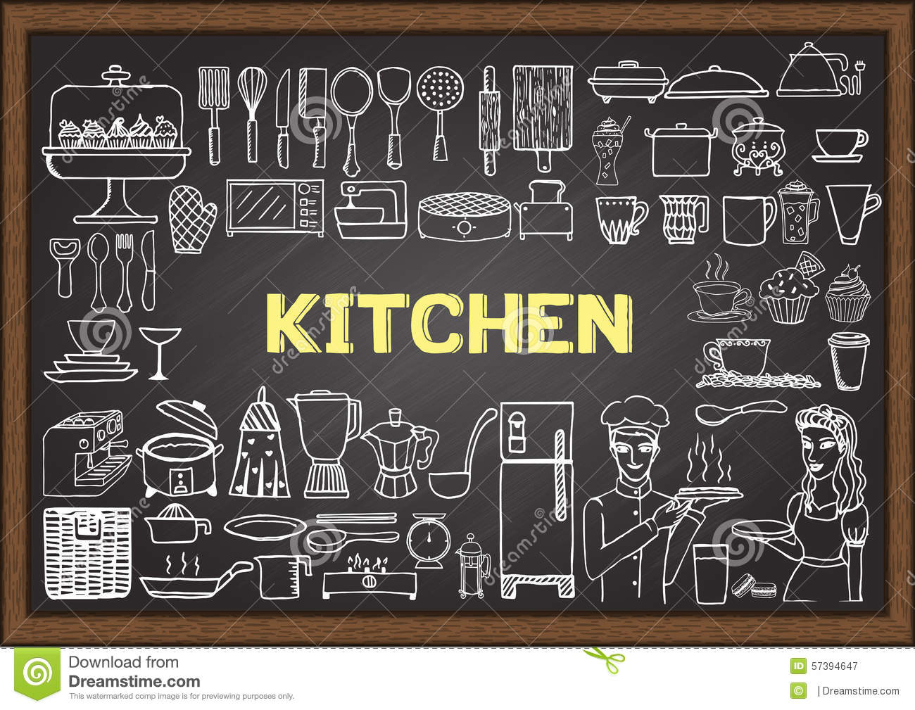 Hand Drawn Kitchen Equipment On Chalkboard Doodles Or Elements For Restaurant Design Stock