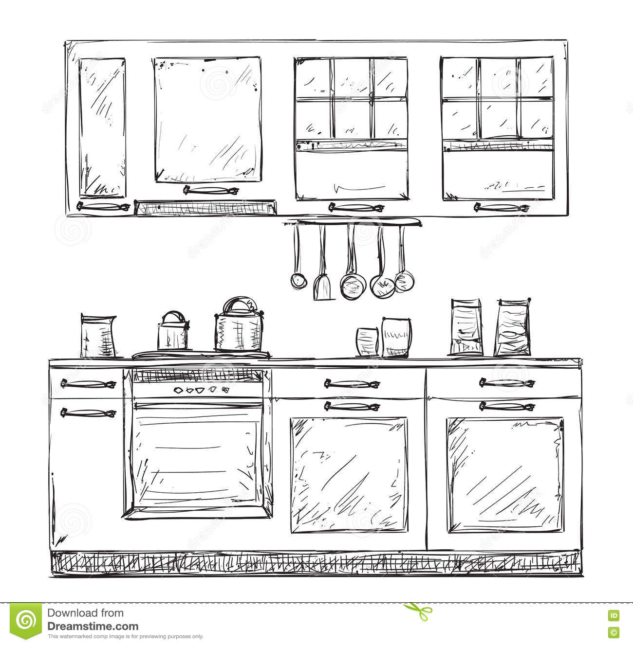 Hand Drawn Kitchen Furniture. Stock Vector