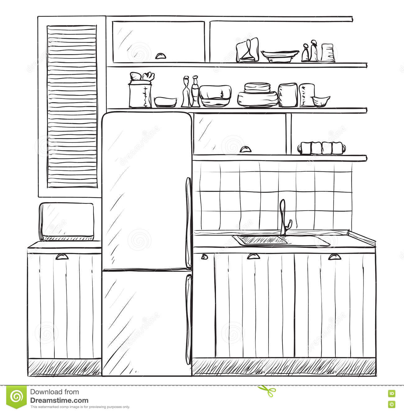Hand Drawn Kitchen. Furniture Sketch. Stock Vector