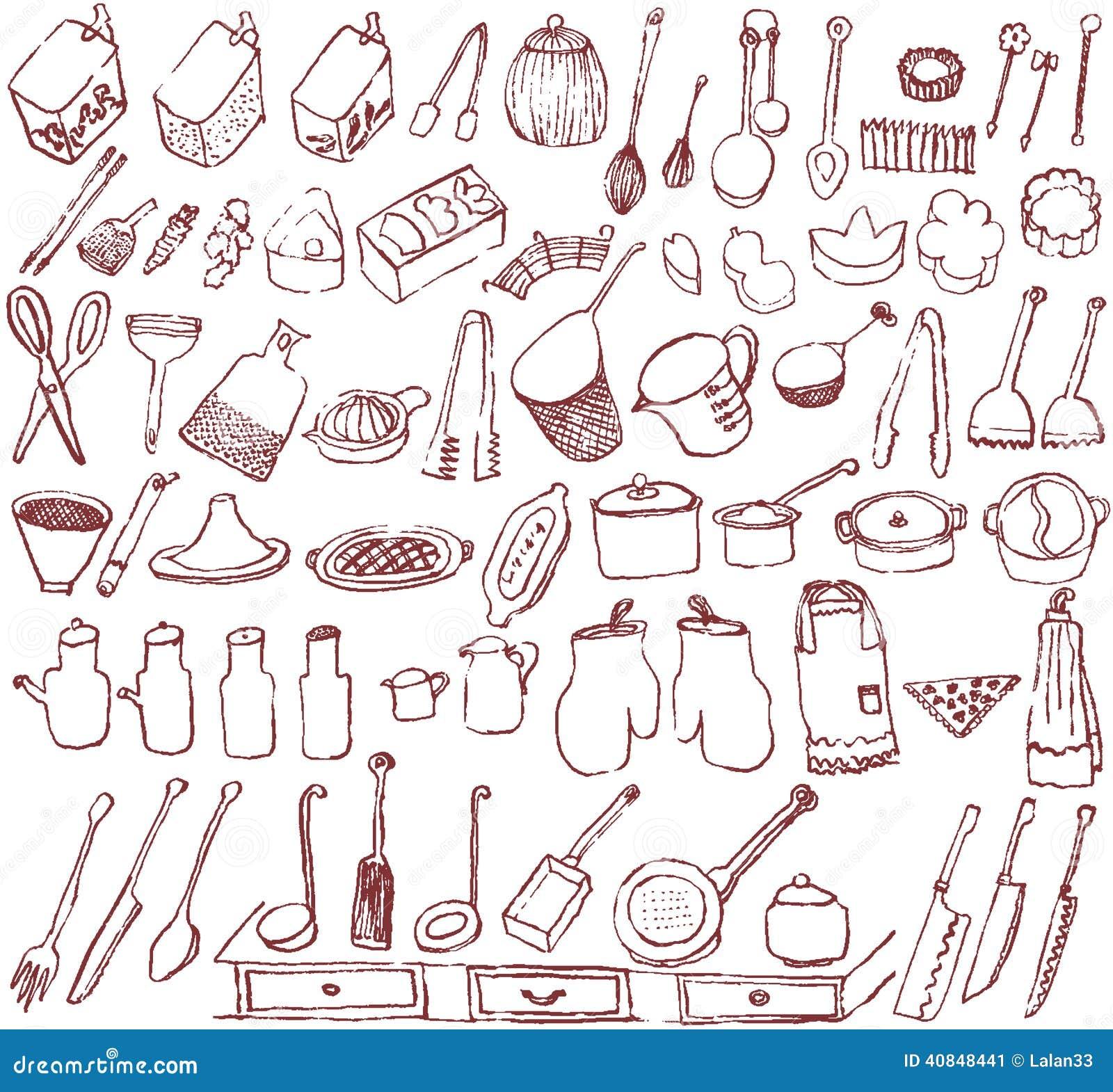 Hand Drawn Kitchen Goods.