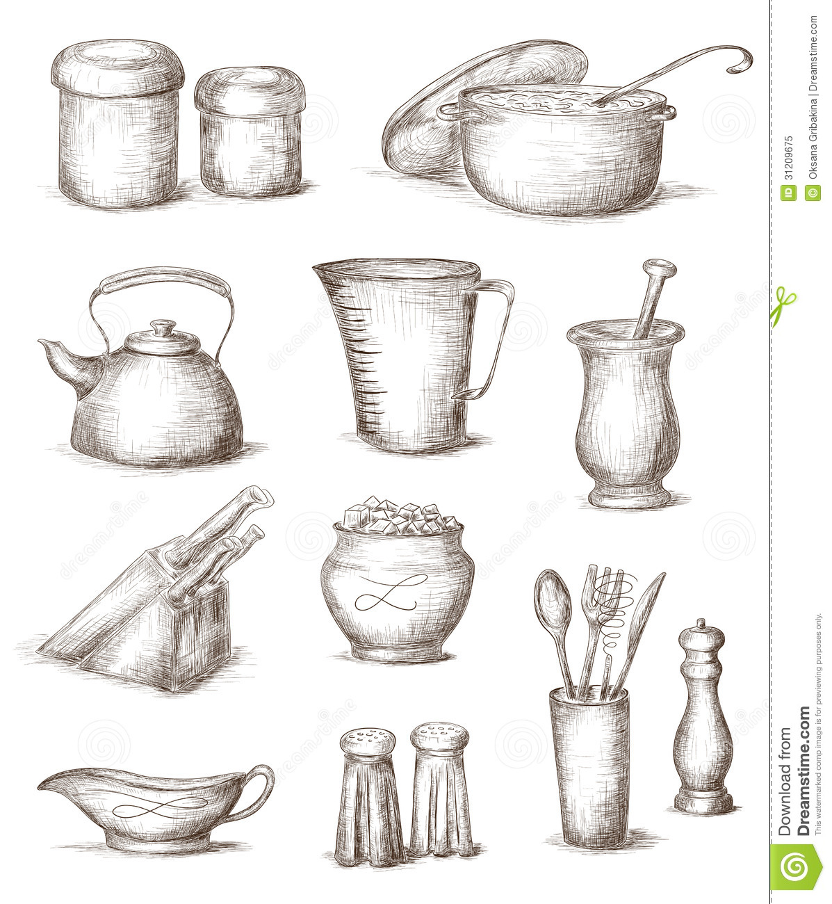 Hand Drawn Kitchen Utensils Royalty Free Stock Photo - Image: 31209675